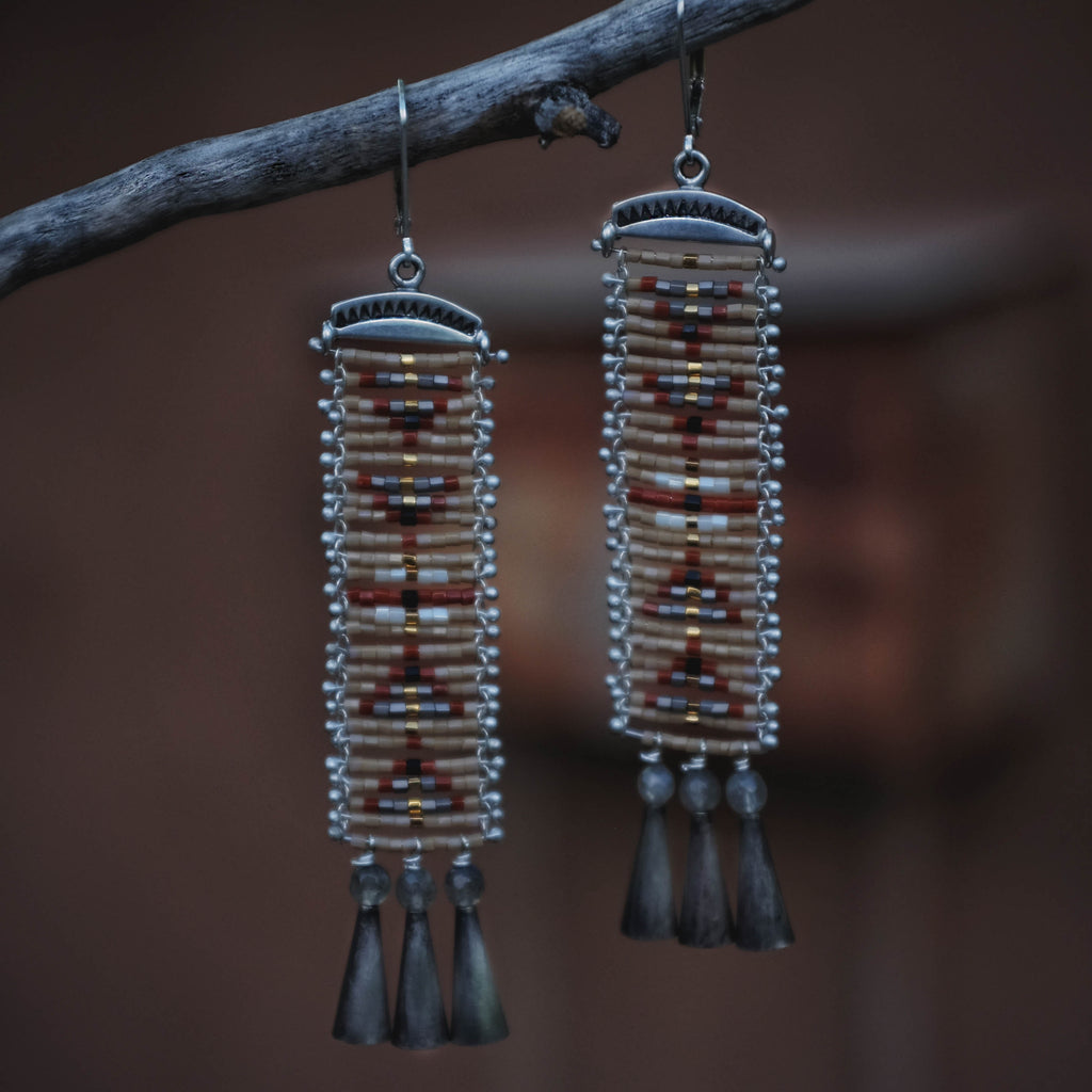 Cascabel Earrings with Labradorite