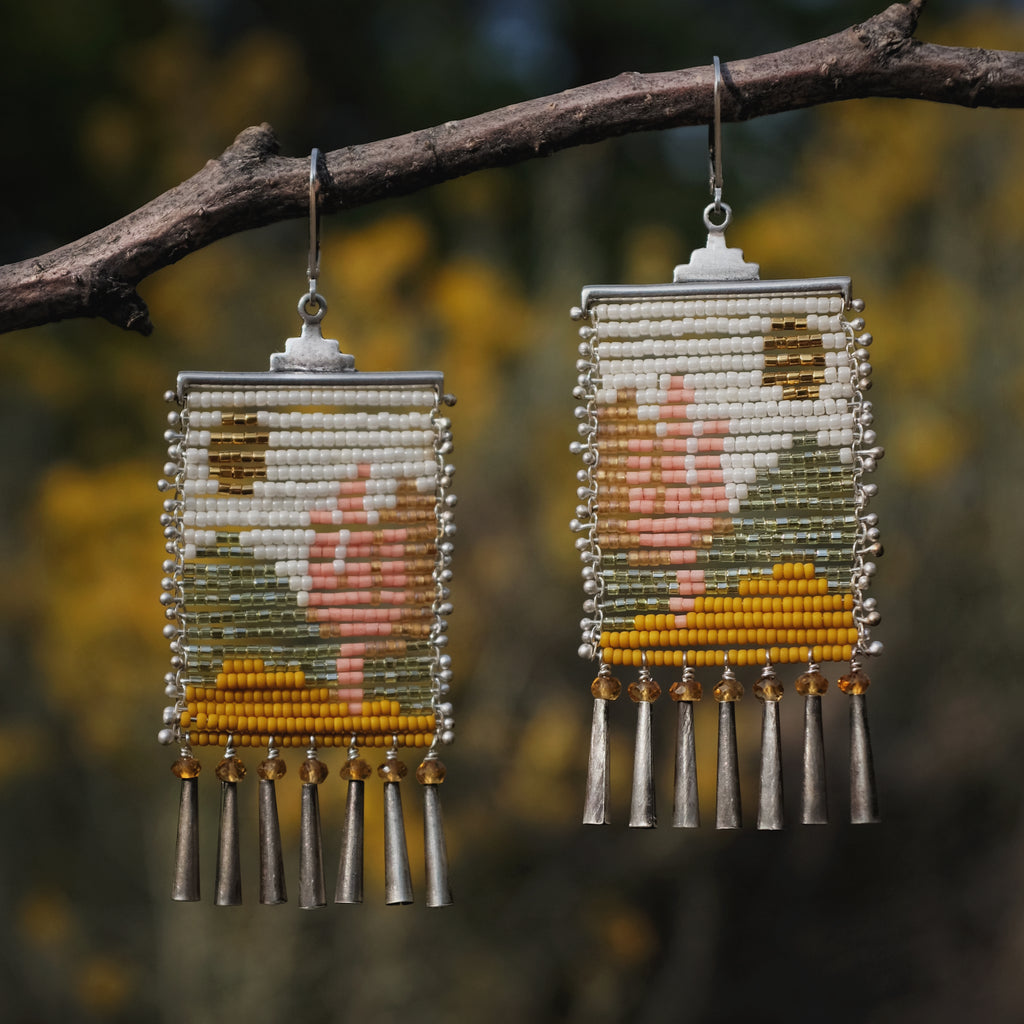 Pink Cactus Lady Earrings with Citrine