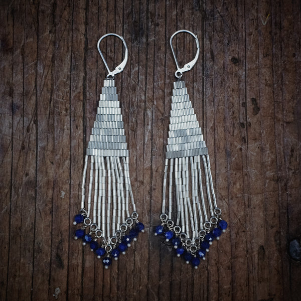 Bright Side Liquid Silver Earrings with Lapis (small)