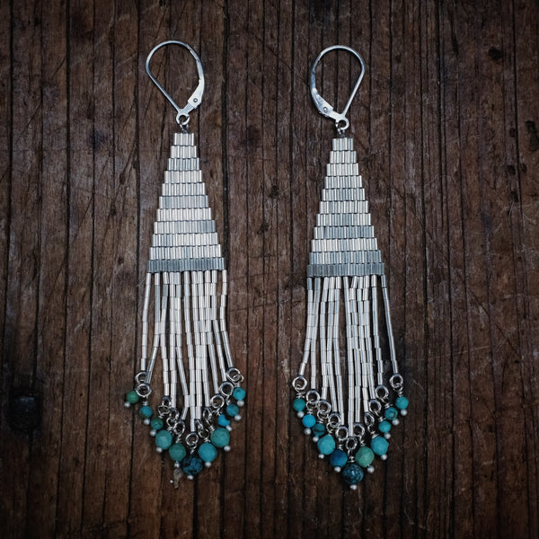 Bright Side Liquid Silver Earrings with Turquoise (small)