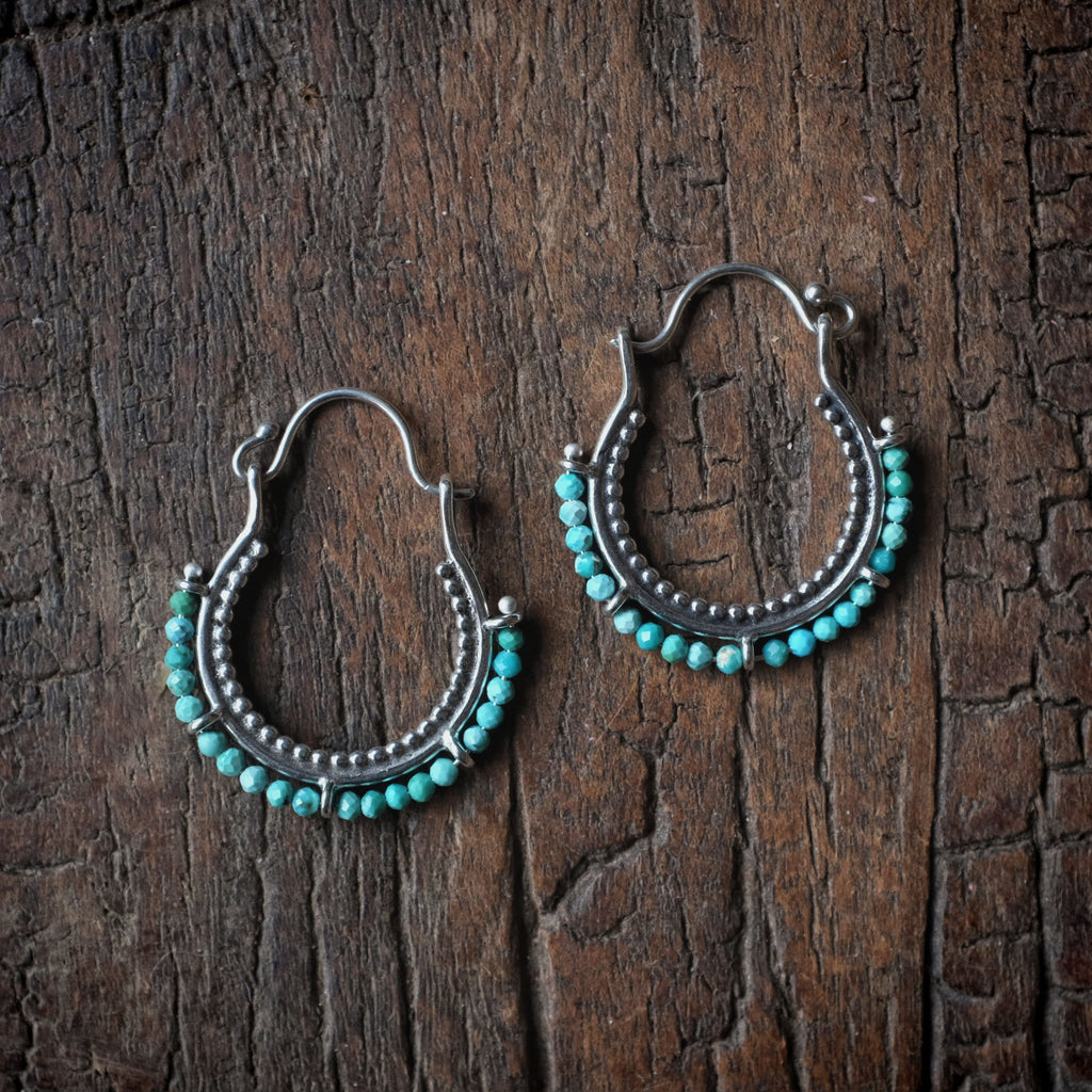Arco Earrings with Faceted Tibetan Turquoise
