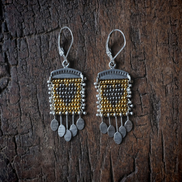 Silver Heart Earrings with Paillettes