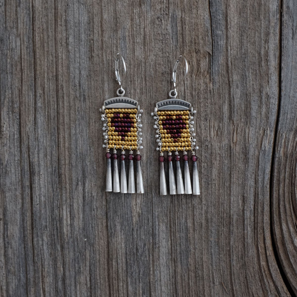 Little Heart Earrings with Garnet