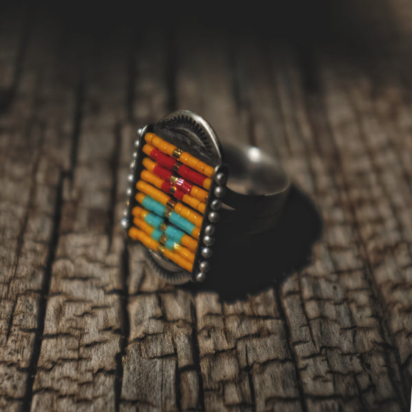Sacred Peak La Reina Ring in Yellow with Red and Turquoise