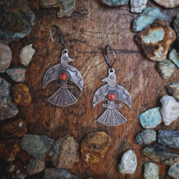 Water Bird Earrings with Spiny Oyster