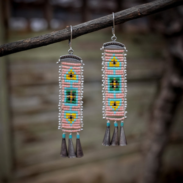 Cascabel Earrings, Pink and Turquoise