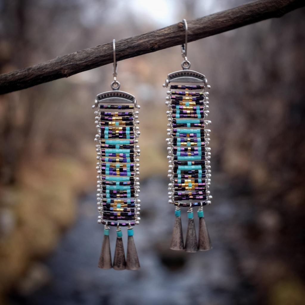 Cascabel Earrings, Irridecent Purple and Turquoise