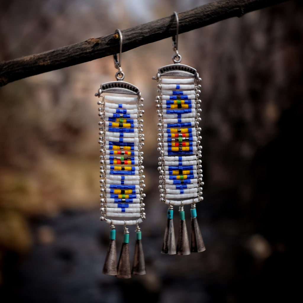 Cascabel Earrings, White and Blue