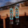 Cascabel Earrings, Turquoise Blue and Black