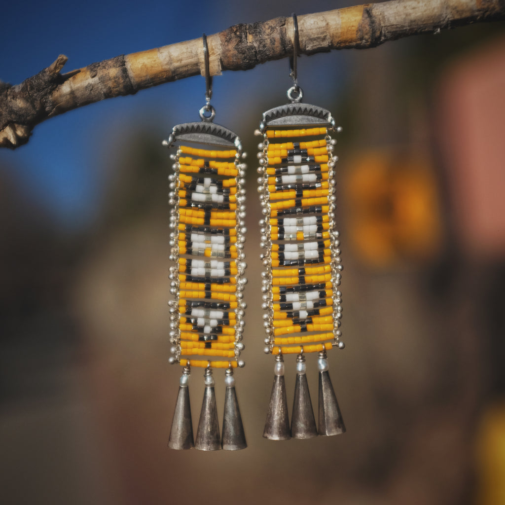 Cascabel Earrings, Yellow and Silver