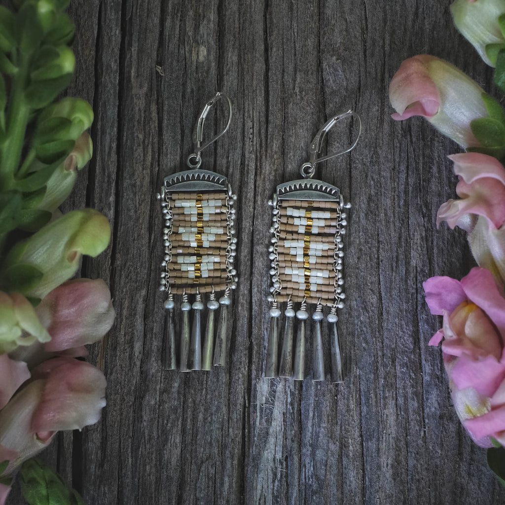 Neutral Sacred Peak Earrings with Cascabels