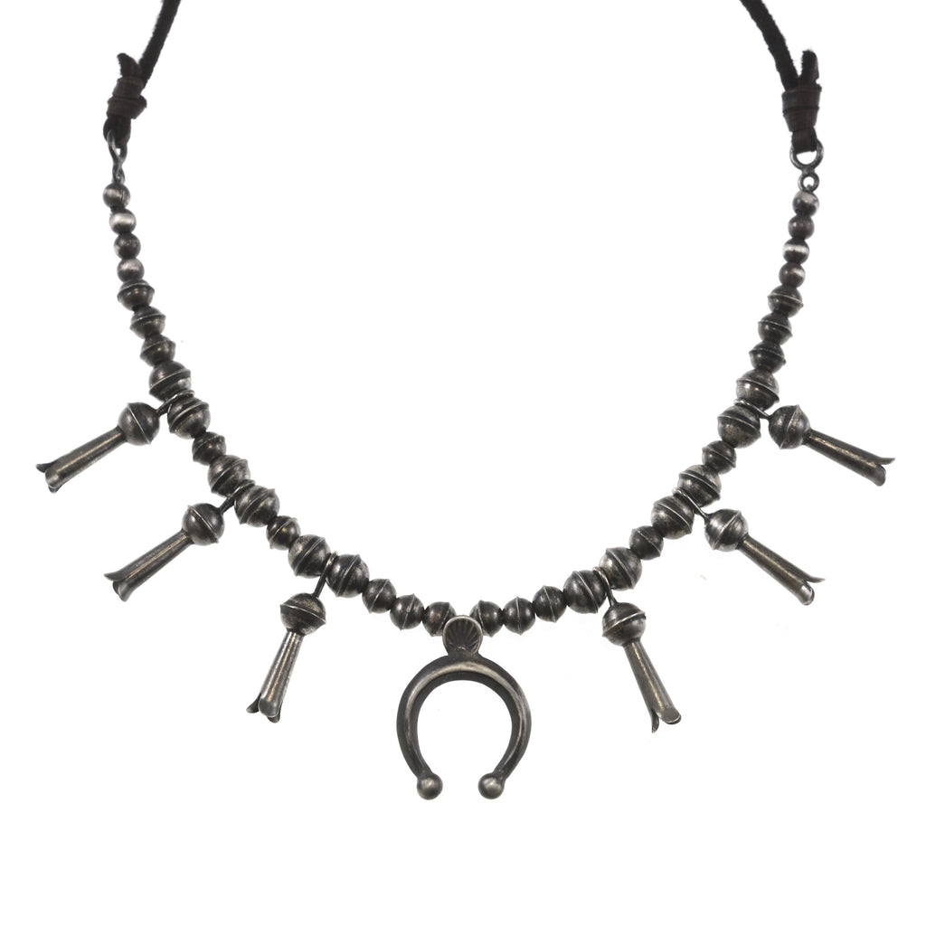 Plata Pequeña Squash Blossom Necklace on Leather