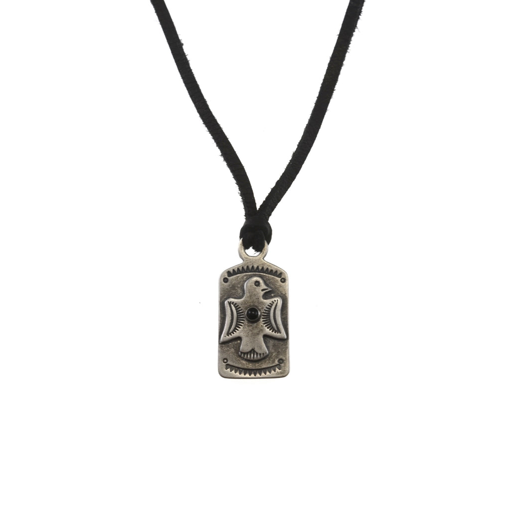 Thunderbird Tag Necklace with Jet and Leather