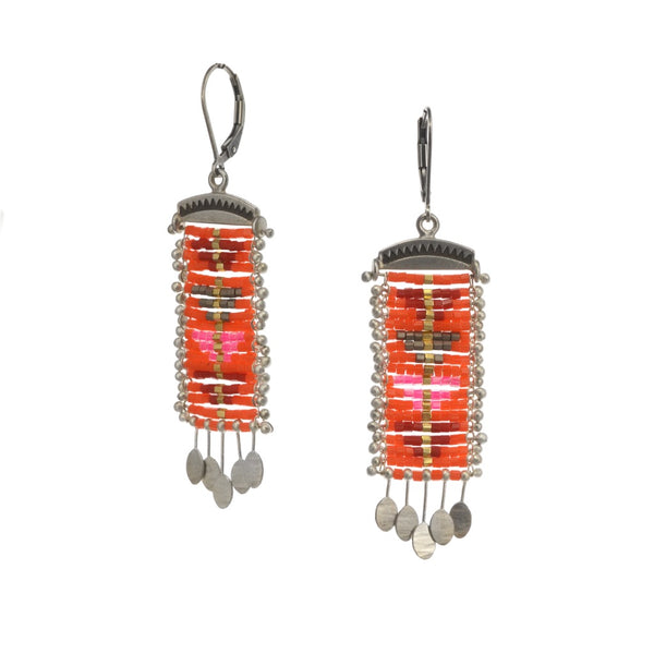 Sacred Peak Gold Line Earrings in Red and Pink