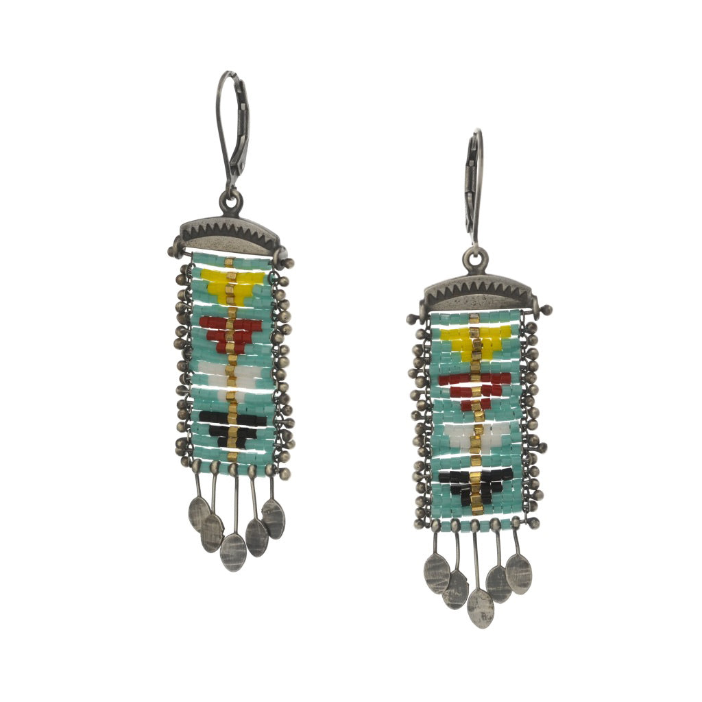 Sacred Peak Gold Line Earrings with Primary Colors