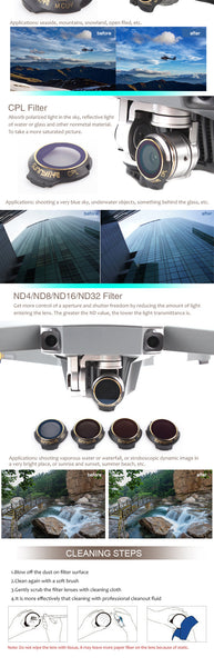 ND Filters x6 for Mavic Pro/Platinum MCUV CPL ND4 ND8 ND16 ND32