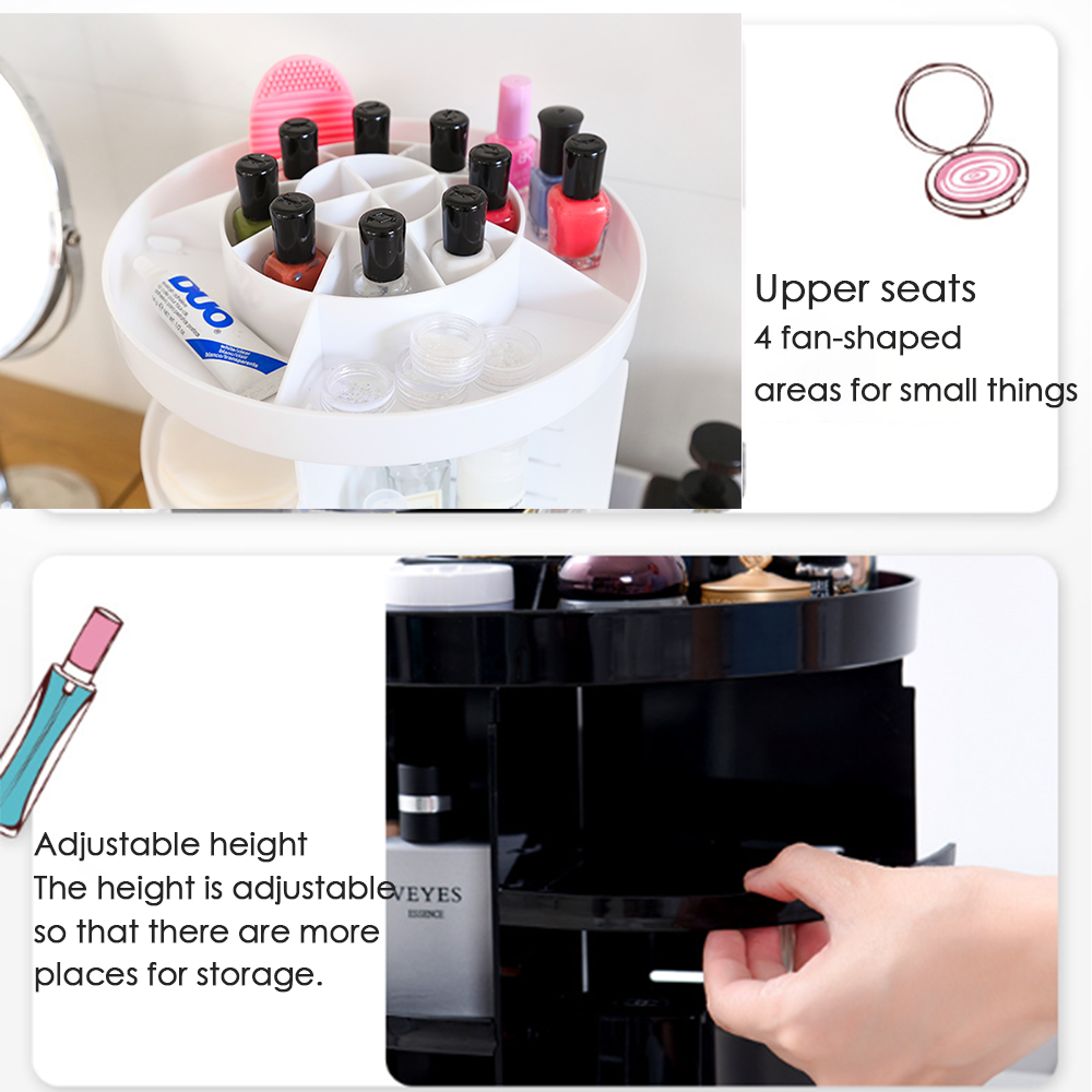 360 ° Rotatable Multifunctional Cosmetic Organizer, 2 Colors