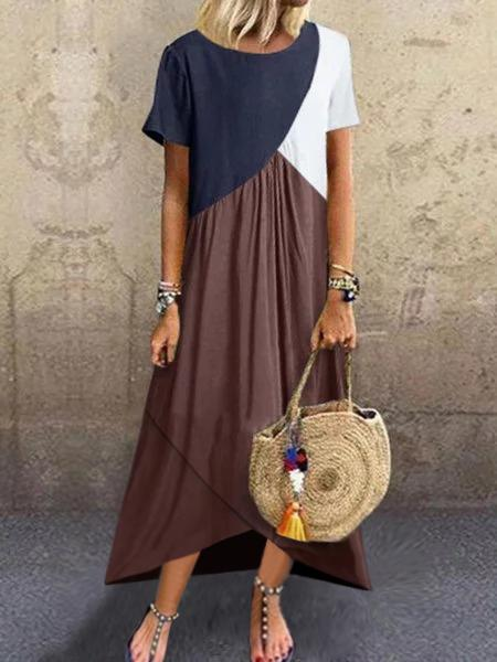 Short Sleeve Color-Block Cotton-Blend Plain Dresses