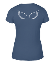 Ladies Basic Fitted T-Shirt with small Angel wings on back