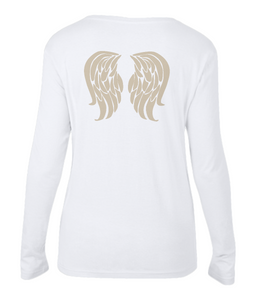 Ladies Sheer Long Sleeve Scoop Neck T-Shirt with angel wings - Enkelin siivet selässä