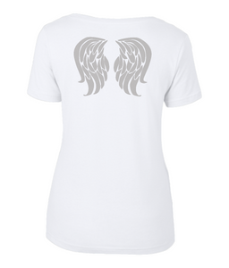 Ladies Sheer Scoop Neck T-Shirt grey wings on back - Harmaat siivet selässä