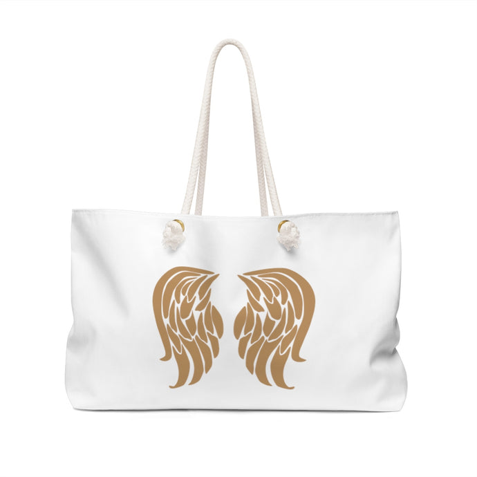Weekender Bag  Angel wings with text - Viikonloppulaukku enkelinsiivillä