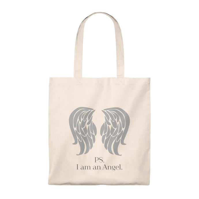 PS. I am an Angel tote bag - PS. Olen enkeli puuvillainen kauppakassi