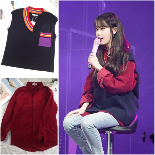 IU Palette Concert Tour Cheongju Red Long Sleeve Shirt/Vest