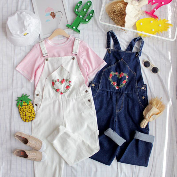 Strawberry Wreath Overalls