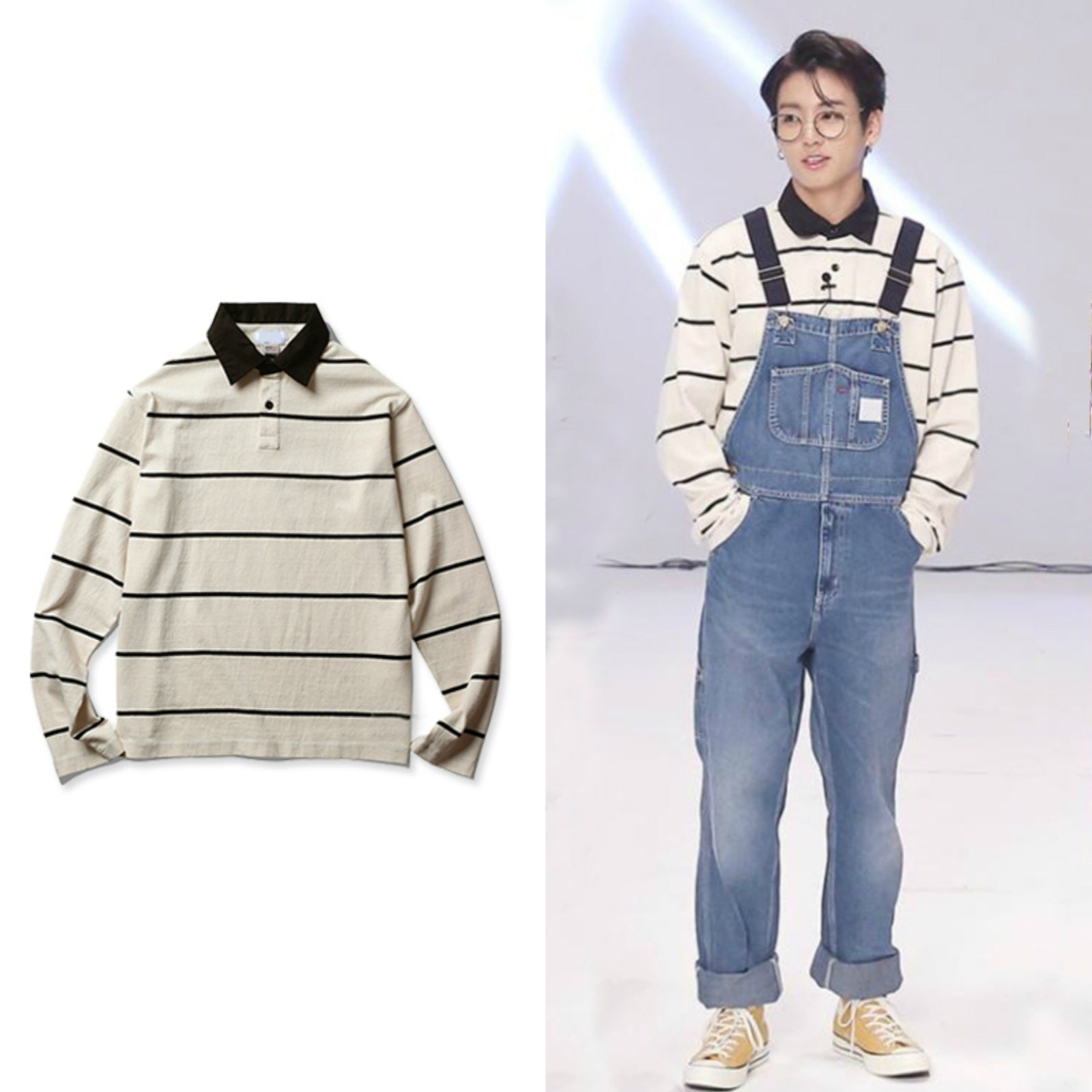 BTS Run Jungkook Striped Polo Sweater Overall Outfit
