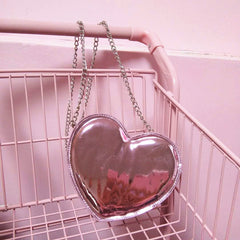 Holographic Heart Chain Pouch