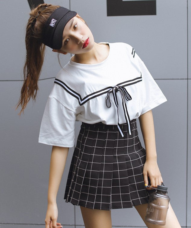 Grid Skirt + Blouse Set