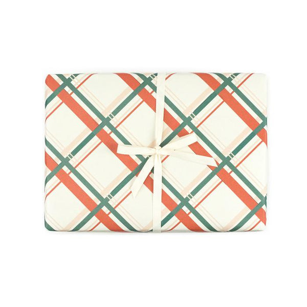 Vintage Holiday Plaid Gift Wrap Roll