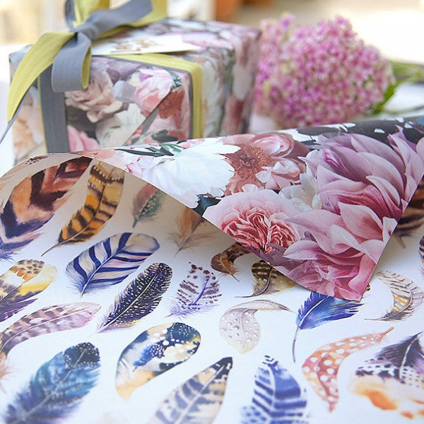 Peonies / Watercolour Feathers - Double-Sided Gift Wrap