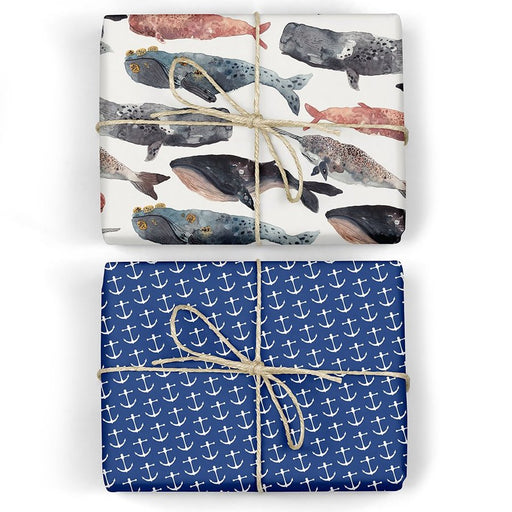 Anchors / Whales - Double-Sided Gift Wrap