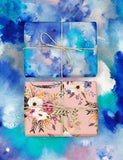 Watercolour Blue / Watercolour Floral Double-Sided Gift Wrap