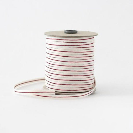 Christmas Ribbon: Metallic line tight weave cotton ribbon (6.5mm) - natural/red
