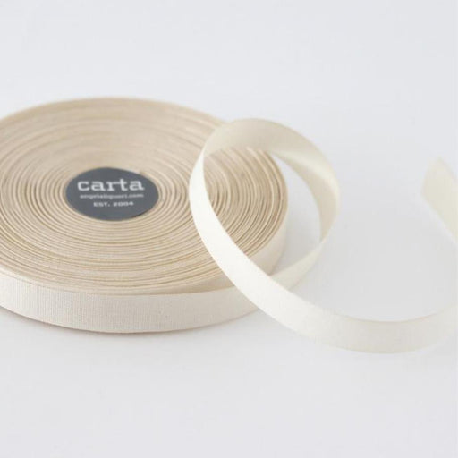 Tight weave cotton ribbon (17mm) - Natural