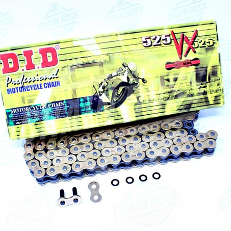 DID 525 x 124 Links VX Pro-Street Series Xring Sealed Gold Drive Chain