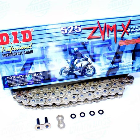DID 525 x 120 Links ZVMX Super Street Series Xring Sealed Gold Drive Chain