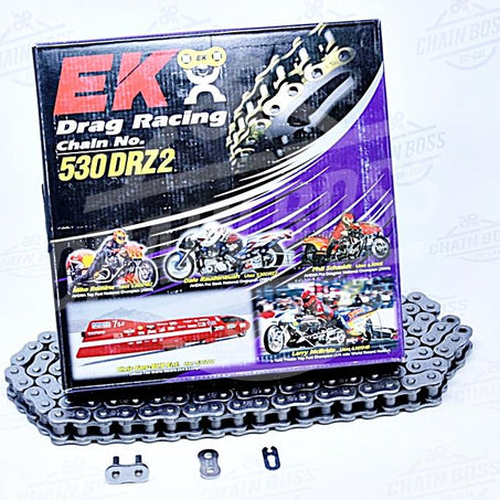 EK Chains 530 x 160 Links DRZ2 Drag Bike Series  Non Oring Chrome Drive Chain