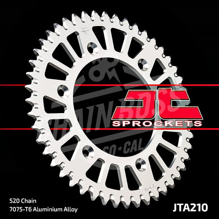 JT Sprockets 520 Rear Sprocket Aluminum 52 Teeth Silver JTA210.52 - chainboss