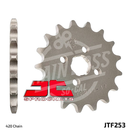 JT Sprockets 420 Front Sprocket Steel 17 Teeth Natural JTF253.17 - chainboss