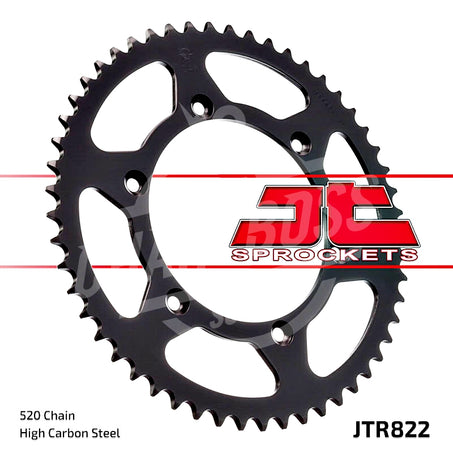 JT Sprockets 520 Rear Sprocket Steel 52 Teeth Black JTR822.52 - chainboss