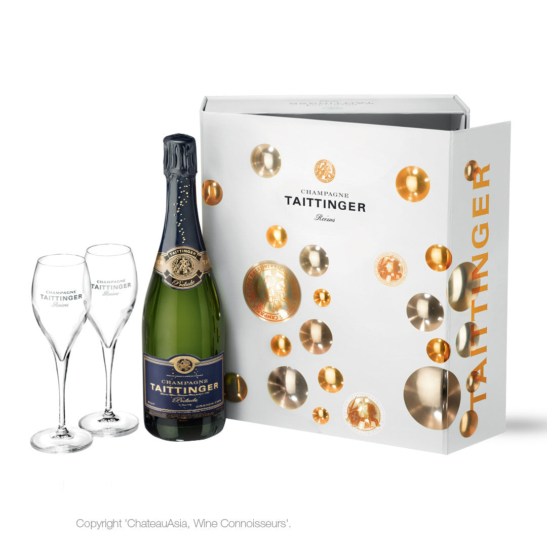 Taittinger Prelude Grands Crus with 2 flutes in Gift Box