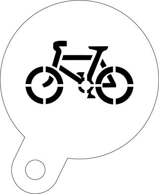 Bicycle cyclist coffee stencil