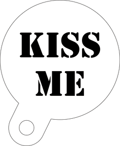 Kiss me coffee stencil