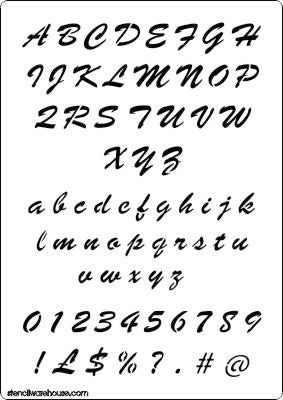 Alphabet and number set stencil