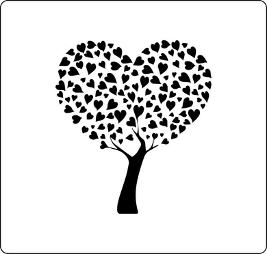 Tree stencil made from individual hearts