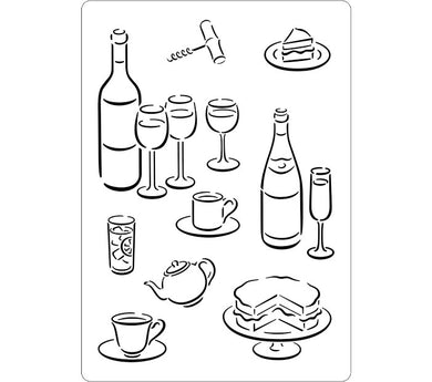 Food and Drink Images Stencil